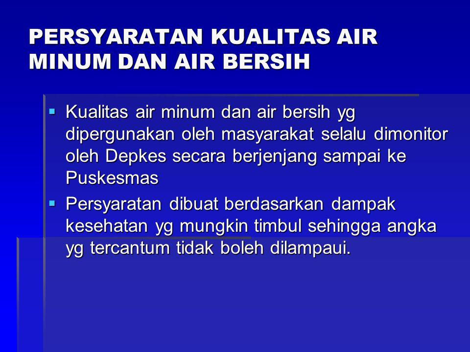 PERSYARATAN KUALITAS AIR MINUM DAN AIR BERSIH  Kualitas air minum dan air bersih yg dipergunakan oleh masyarakat selalu dimonitor oleh Depkes secara