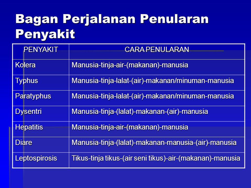 Bagan Perjalanan Penularan Penyakit PENYAKIT CARA PENULARAN KoleraManusia-tinja-air-(makanan)-manusia TyphusManusia-tinja-lalat-(air)-makanan/minuman-manusia ParatyphusManusia-tinja-lalat-(air)-makanan/minuman-manusia DysentriManusia-tinja-(lalat)-makanan-(air)-manusia HepatitisManusia-tinja-air-(makanan)-manusia DiareManusia-tinja-(lalat)-makanan-manusia-(air)-manusia Leptospirosis Tikus-tinja tikus-(air seni tikus)-air-(makanan)-manusia