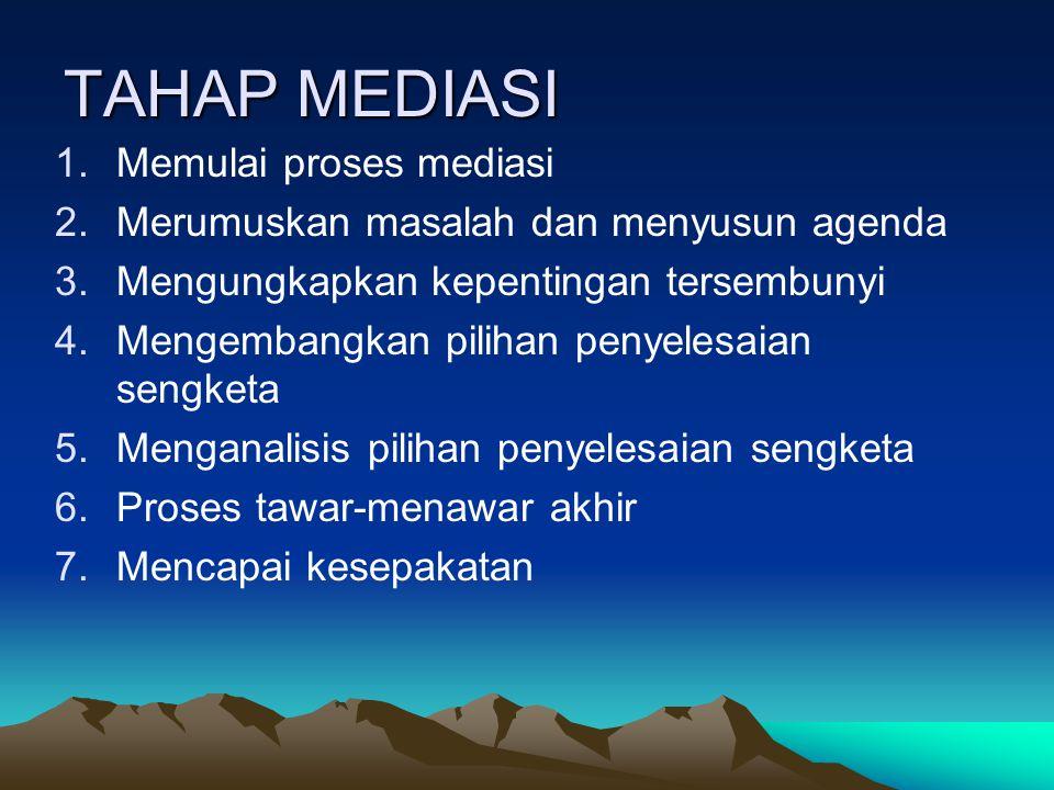 TAHAP MEDIASI 1.Memulai proses mediasi 2.Merumuskan masalah dan menyusun agenda 3.Mengungkapkan kepentingan tersembunyi 4.Mengembangkan pilihan penyel