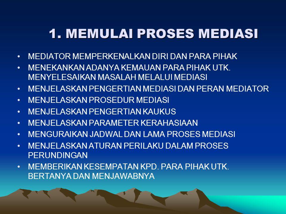 1. MEMULAI PROSES MEDIASI 1. MEMULAI PROSES MEDIASI •MEDIATOR MEMPERKENALKAN DIRI DAN PARA PIHAK •MENEKANKAN ADANYA KEMAUAN PARA PIHAK UTK. MENYELESAI