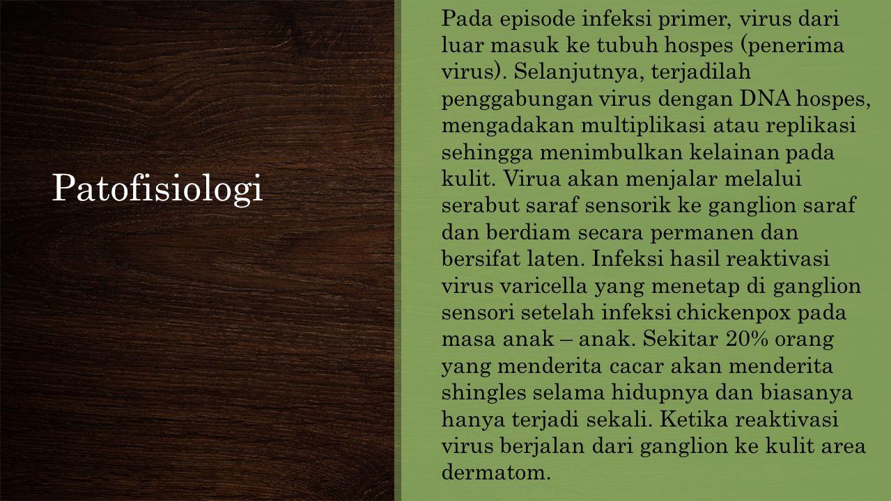 Patofisiologi Pada episode infeksi primer, virus dari luar masuk ke tubuh hospes (penerima virus).