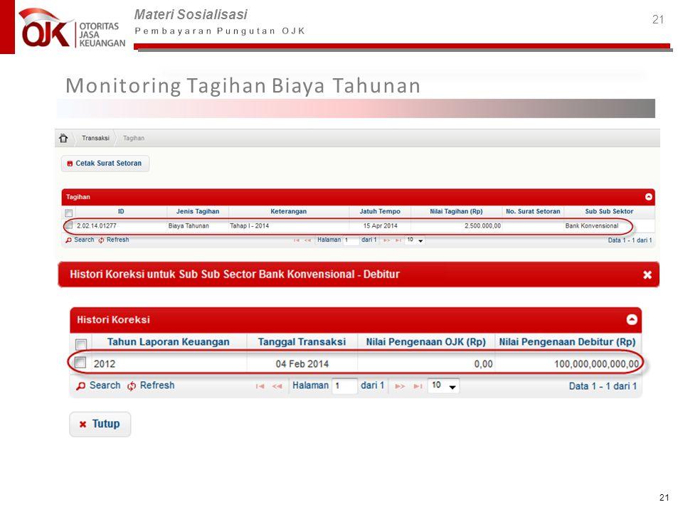 Materi Sosialisasi 21 Monitoring Tagihan Biaya Tahunan 21