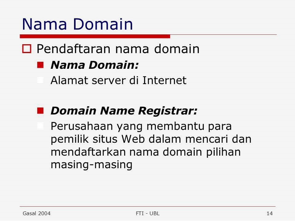 Gasal 2004FTI - UBL14 Nama Domain  Pendaftaran nama domain  Nama Domain:  Alamat server di Internet  Domain Name Registrar:  Perusahaan yang memb