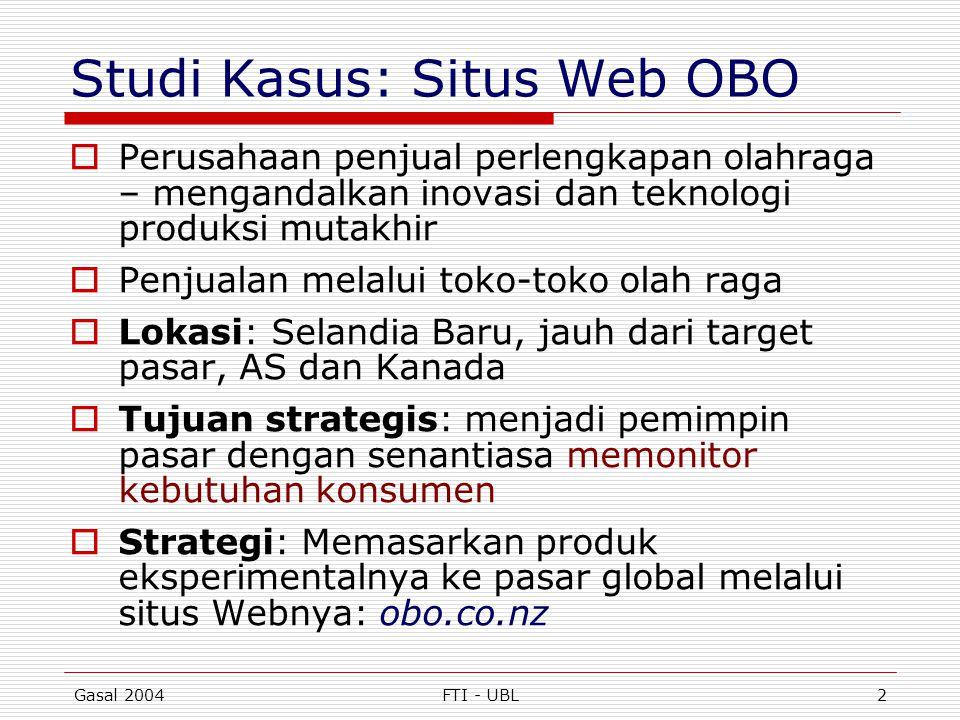 Gasal 2004FTI - UBL2 Studi Kasus: Situs Web OBO  Perusahaan penjual perlengkapan olahraga – mengandalkan inovasi dan teknologi produksi mutakhir  Pe