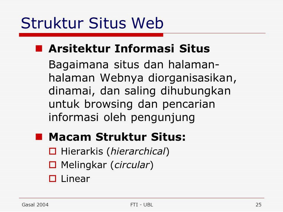 Gasal 2004FTI - UBL25 Struktur Situs Web  Arsitektur Informasi Situs Bagaimana situs dan halaman- halaman Webnya diorganisasikan, dinamai, dan saling