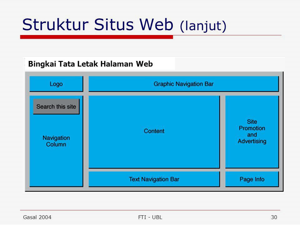 Gasal 2004FTI - UBL30 Struktur Situs Web (lanjut) Bingkai Tata Letak Halaman Web