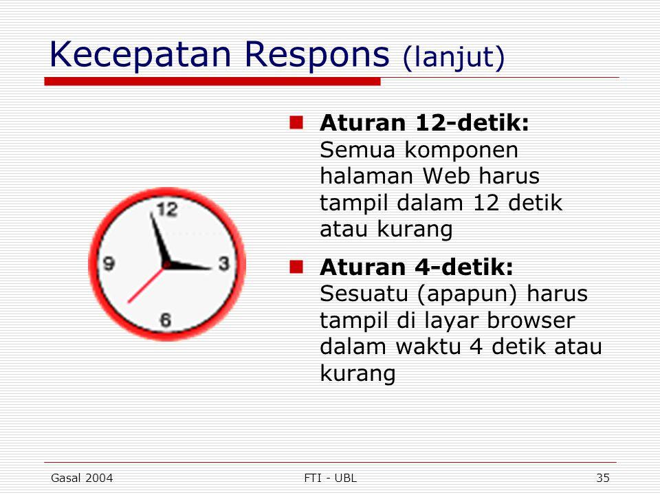 Gasal 2004FTI - UBL35 Kecepatan Respons (lanjut)  Aturan 12-detik: Semua komponen halaman Web harus tampil dalam 12 detik atau kurang  Aturan 4-deti