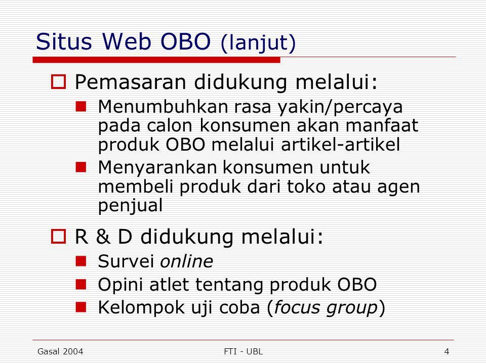 Gasal 2004FTI - UBL4 Situs Web OBO (lanjut)  Pemasaran didukung melalui:  Menumbuhkan rasa yakin/percaya pada calon konsumen akan manfaat produk OBO