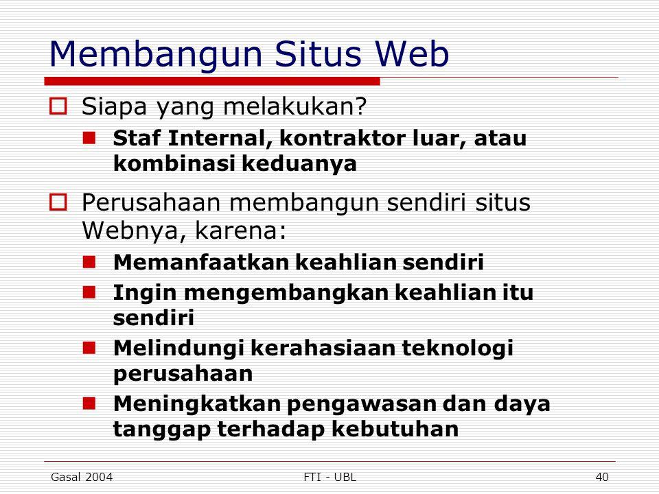 Gasal 2004FTI - UBL40 Membangun Situs Web  Siapa yang melakukan?  Staf Internal, kontraktor luar, atau kombinasi keduanya  Perusahaan membangun sen