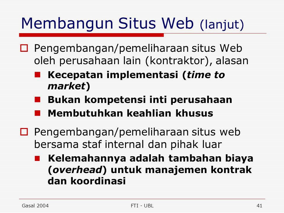 Gasal 2004FTI - UBL41 Membangun Situs Web (lanjut)  Pengembangan/pemeliharaan situs Web oleh perusahaan lain (kontraktor), alasan  Kecepatan impleme