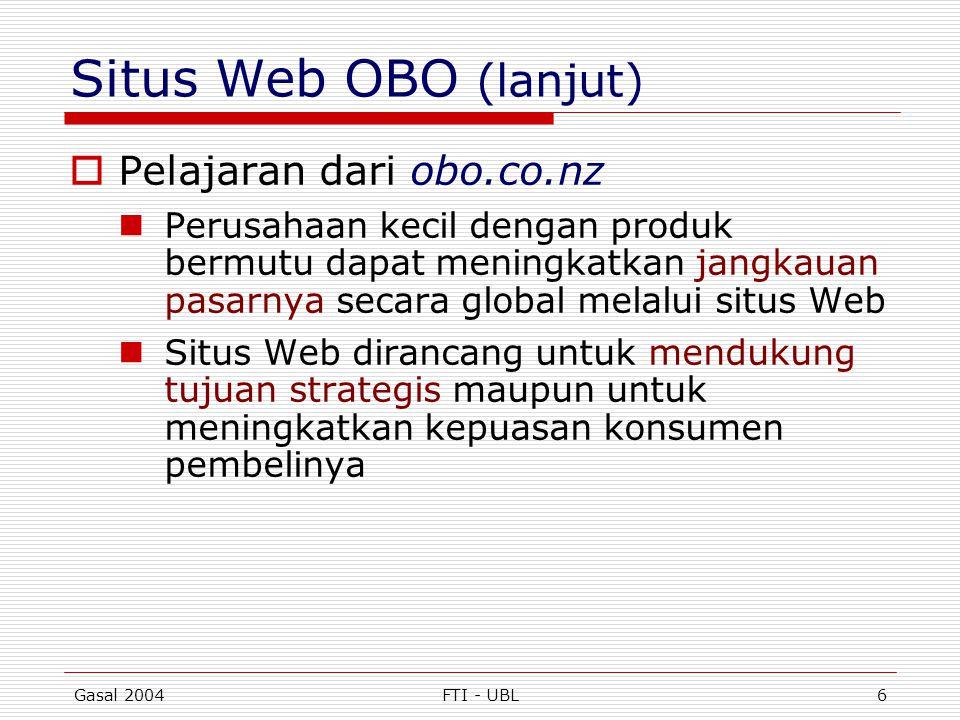 Gasal 2004FTI - UBL6 Situs Web OBO (lanjut)  Pelajaran dari obo.co.nz  Perusahaan kecil dengan produk bermutu dapat meningkatkan jangkauan pasarnya