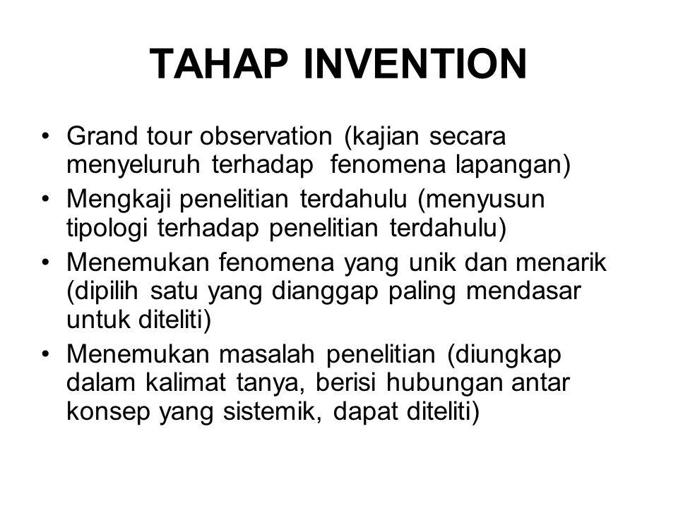 TAHAP INVENTION •Grand tour observation (kajian secara menyeluruh terhadap fenomena lapangan) •Mengkaji penelitian terdahulu (menyusun tipologi terhad