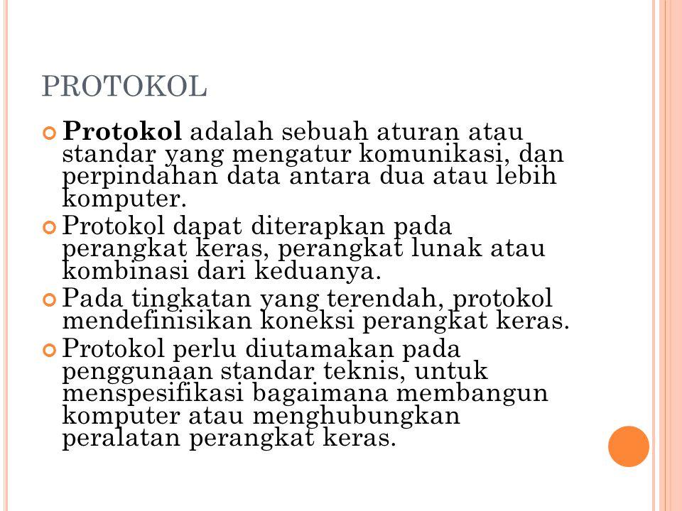 PROTOKOL Protokol adalah sebuah aturan atau standar yang mengatur komunikasi, dan perpindahan data antara dua atau lebih komputer.