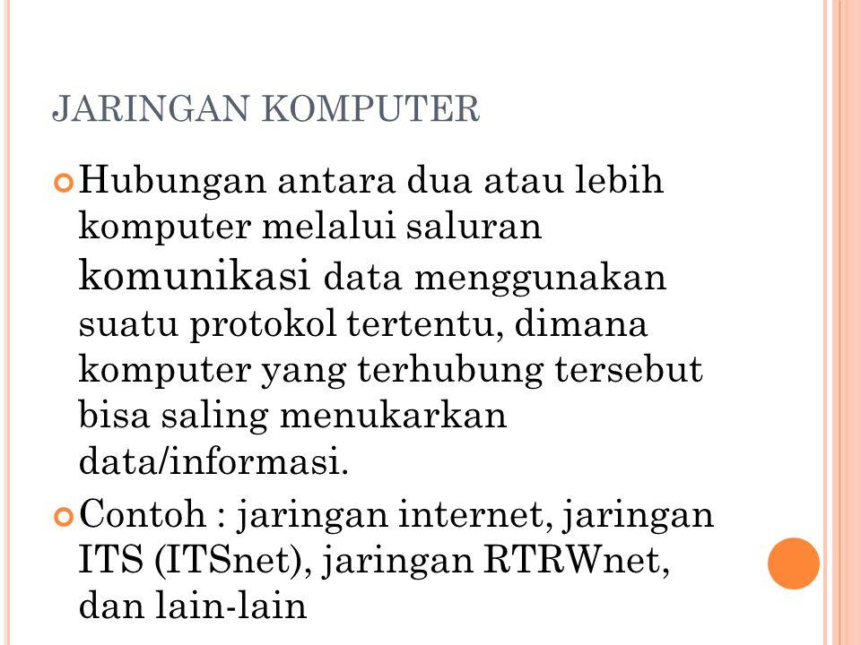 JARINGAN KOMPUTER Hubungan antara dua atau lebih komputer melalui saluran komunikasi data menggunakan suatu protokol tertentu, dimana komputer yang terhubung tersebut bisa saling menukarkan data/informasi.