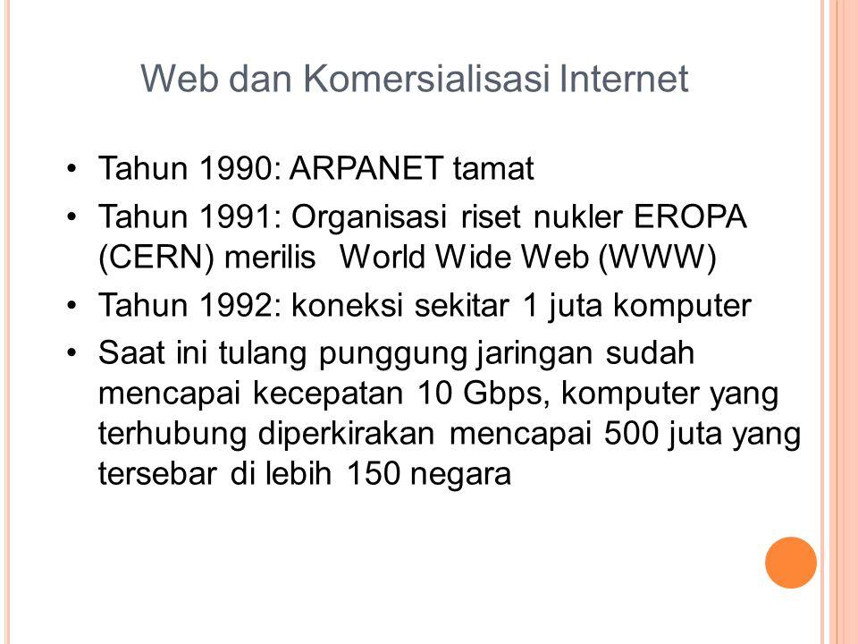 Web dan Komersialisasi Internet •Tahun 1990: ARPANET tamat •Tahun 1991: Organisasi riset nukler EROPA (CERN) merilis World Wide Web (WWW) •Tahun 1992: koneksi sekitar 1 juta komputer •Saat ini tulang punggung jaringan sudah mencapai kecepatan 10 Gbps, komputer yang terhubung diperkirakan mencapai 500 juta yang tersebar di lebih 150 negara