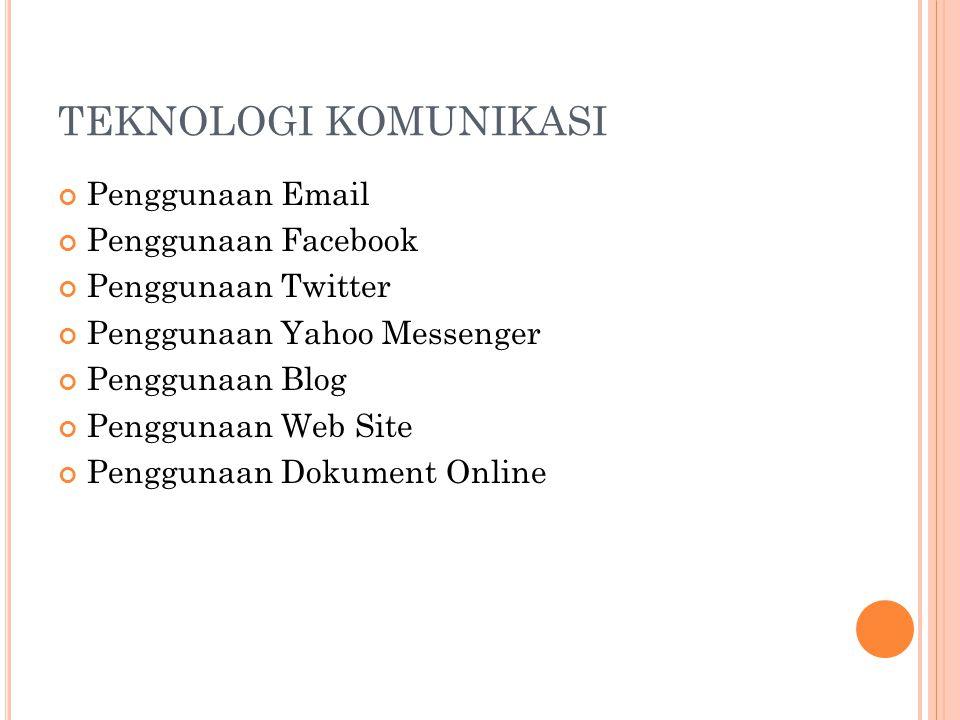 TEKNOLOGI KOMUNIKASI Penggunaan Email Penggunaan Facebook Penggunaan Twitter Penggunaan Yahoo Messenger Penggunaan Blog Penggunaan Web Site Penggunaan Dokument Online