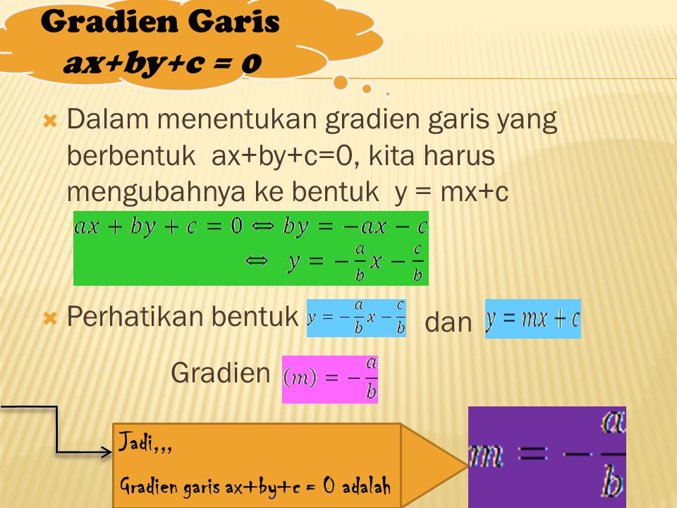 Gradien Garis ax+by+c = 0  Dalam menentukan gradien garis yang berbentuk ax+by+c=0, kita harus mengubahnya ke bentuk y = mx+c  Perhatikan bentuk dan Gradien Jadi,,, Gradien garis ax+by+c = 0 adalah
