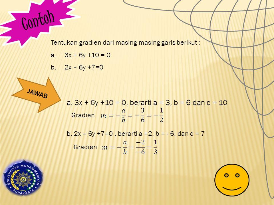 C o n t o h Tentukan gradien dari masing-masing garis berikut : a.3x + 6y +10 = 0 b.2x – 6y +7=0 JAWAB a.