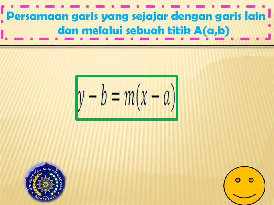 Persamaan garis yang sejajar dengan garis lain dan melalui sebuah titik A(a,b)