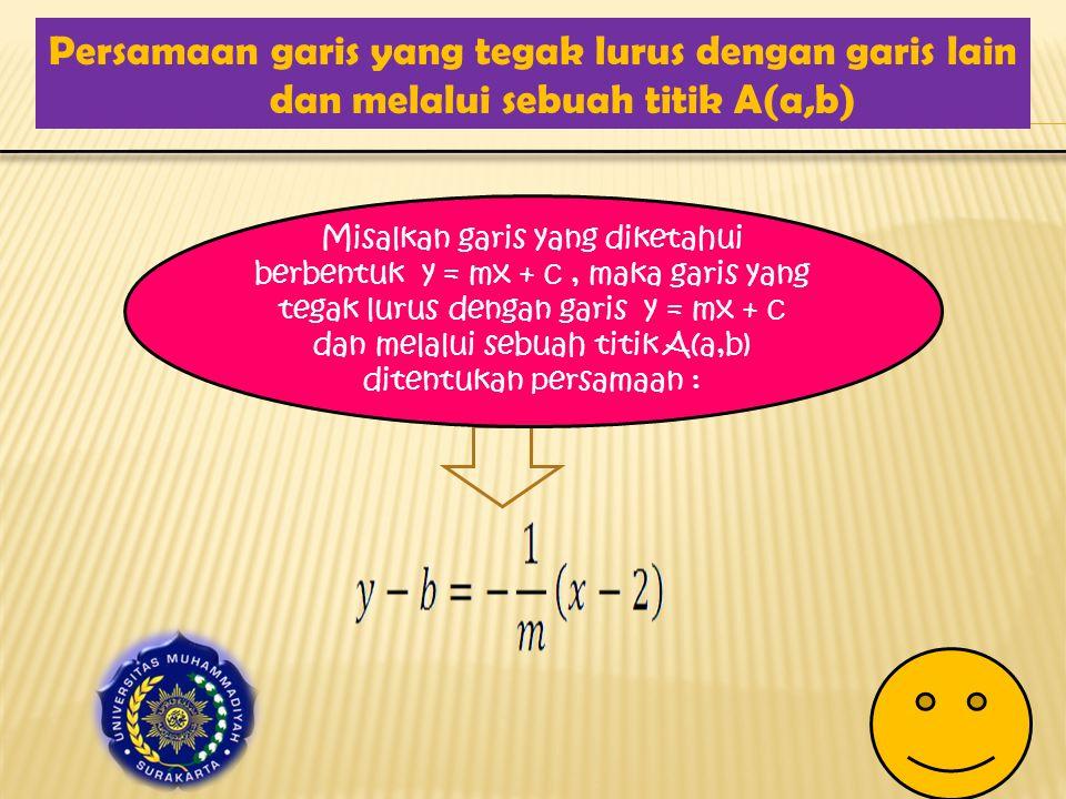 Persamaan garis yang tegak lurus dengan garis lain dan melalui sebuah titik A(a,b) Misalkan garis yang diketahui berbentuk y = mx + c, maka garis yang tegak lurus dengan garis y = mx + c dan melalui sebuah titik A(a,b) ditentukan persamaan :