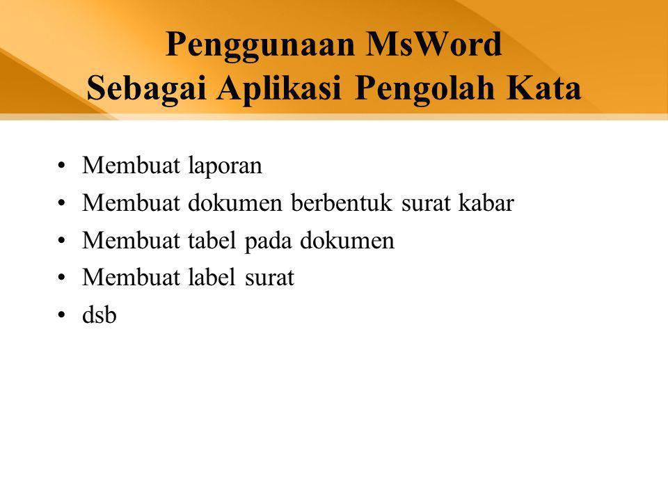 LAYAR KERJA MICROSOFT WORD