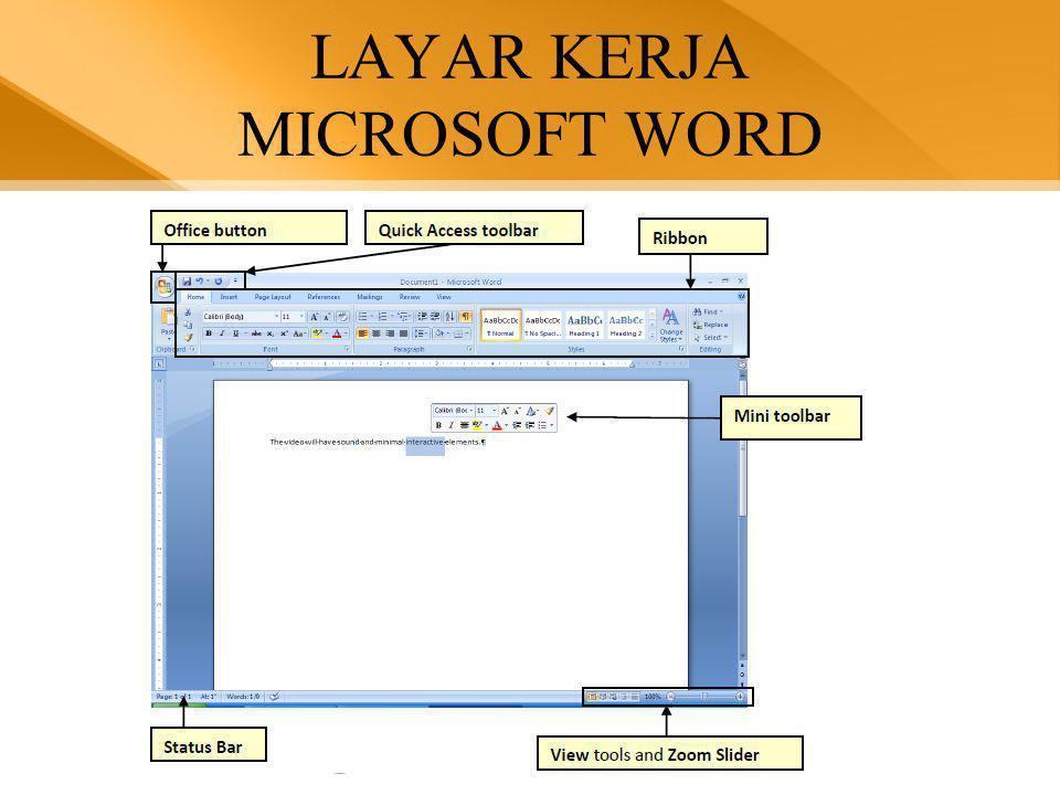 Tampilan Dokumen  Kita dapat melihat dokumen dalam 4 tampilan yang berbeda, yaitu Normal View, Web Layout View, Print Layout View dan Outline View.
