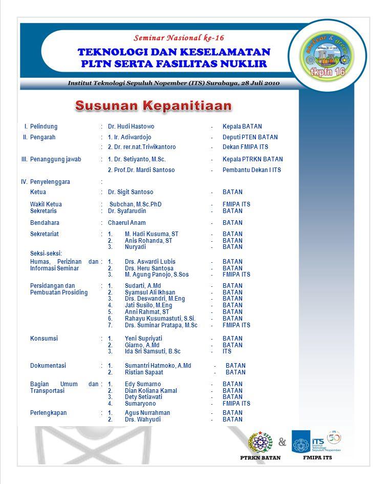 I.Pelindung:Dr. Hudi Hastowo-Kepala BATAN II.Pengarah:1. Ir. Adiwardojo-Deputi PTEN BATAN :2. Dr. rer.nat.Triwikantoro-Dekan FMIPA ITS III.Penanggung