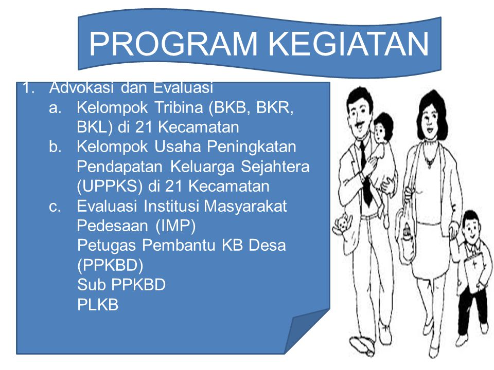 lanjutan… 2.Orientasi Kader Tribina (BKB, BKR, BKL) dari 21 Kecamatan.