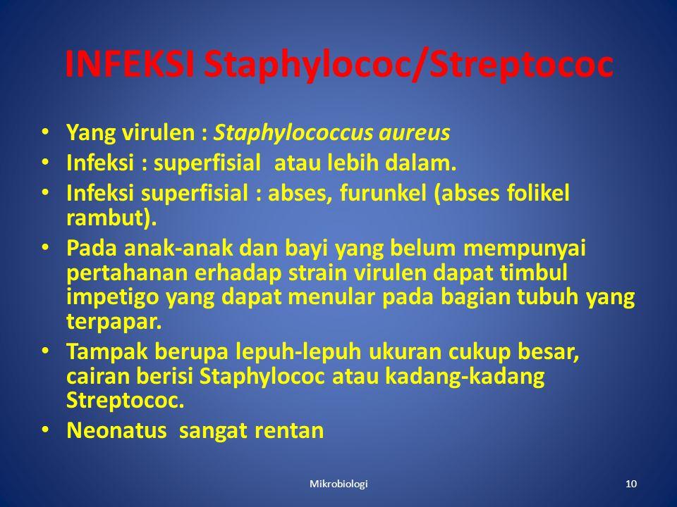 INFEKSI Staphylococ/Streptococ • Yang virulen : Staphylococcus aureus • Infeksi : superfisial atau lebih dalam.