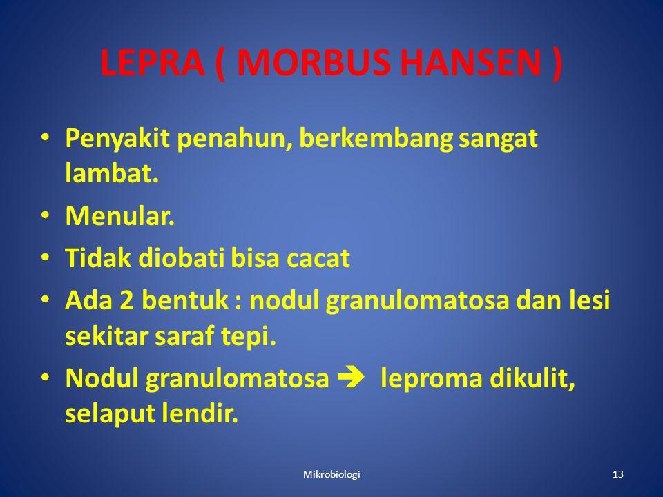 LEPRA ( MORBUS HANSEN ) • Penyakit penahun, berkembang sangat lambat.