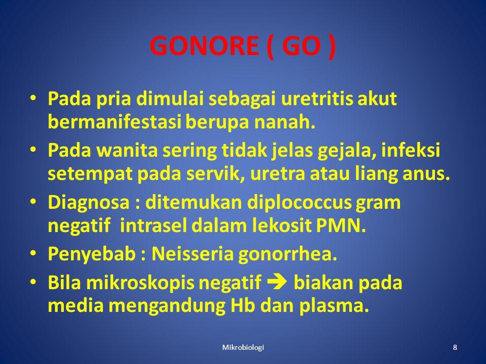 GONORE ( GO ) • Pada pria dimulai sebagai uretritis akut bermanifestasi berupa nanah.