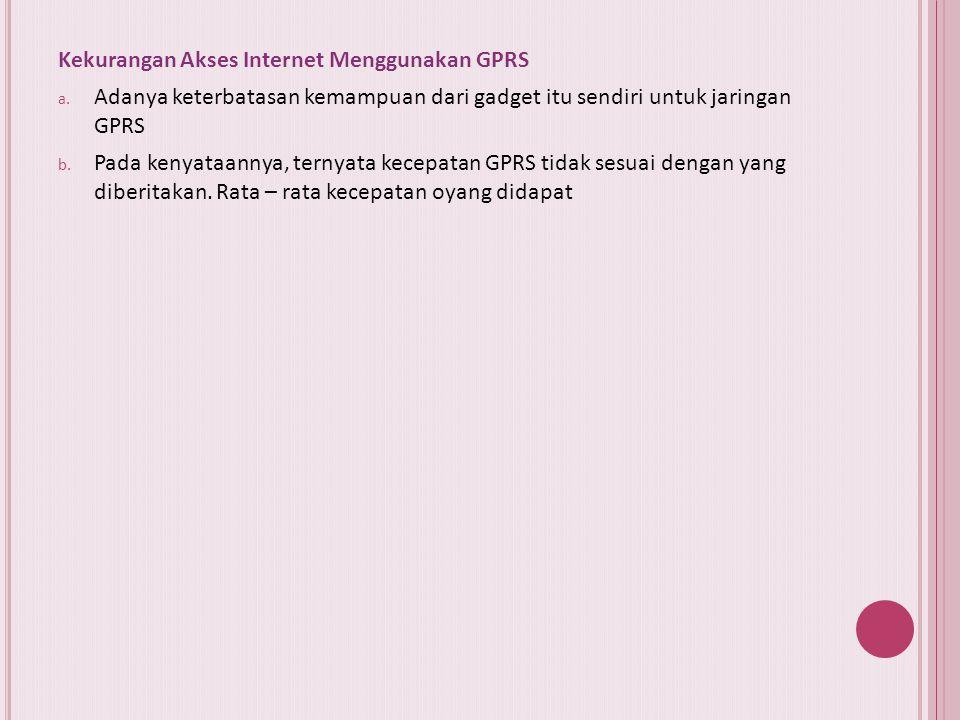 Akses internet dengan menggunakan koneksi GPRS GPRS (General Packet Radio Service) merupakan suatu teknologi yang memungkinkan pengiriman dan penerima