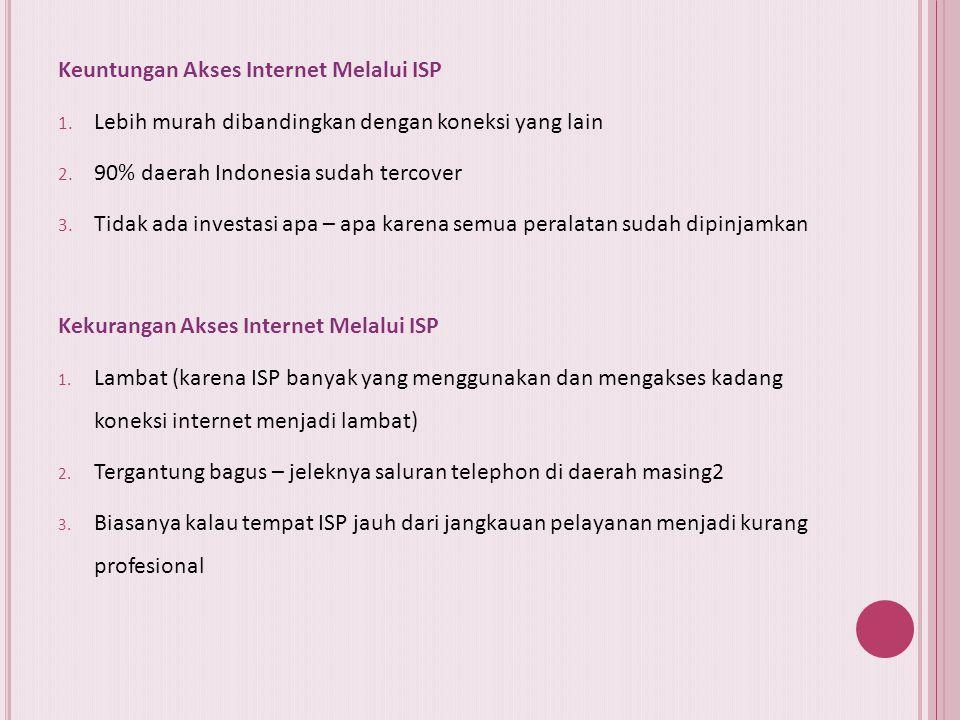 Beberapa syarat mutlak yang harus dimiliki oleh ISP adalah sebagai berikut:  Memiliki izin resmi dari Ditjen Postel Depkominfo RI seperti izin prinsi