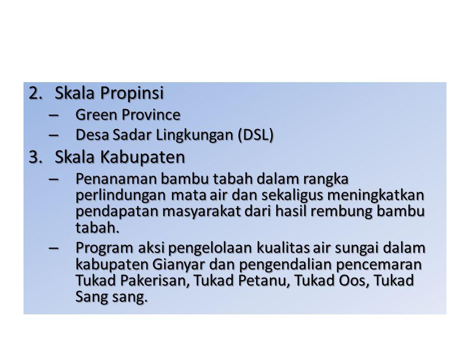 2.Skala Propinsi – Green Province – Desa Sadar Lingkungan (DSL) 3.Skala Kabupaten – Penanaman bambu tabah dalam rangka perlindungan mata air dan sekal