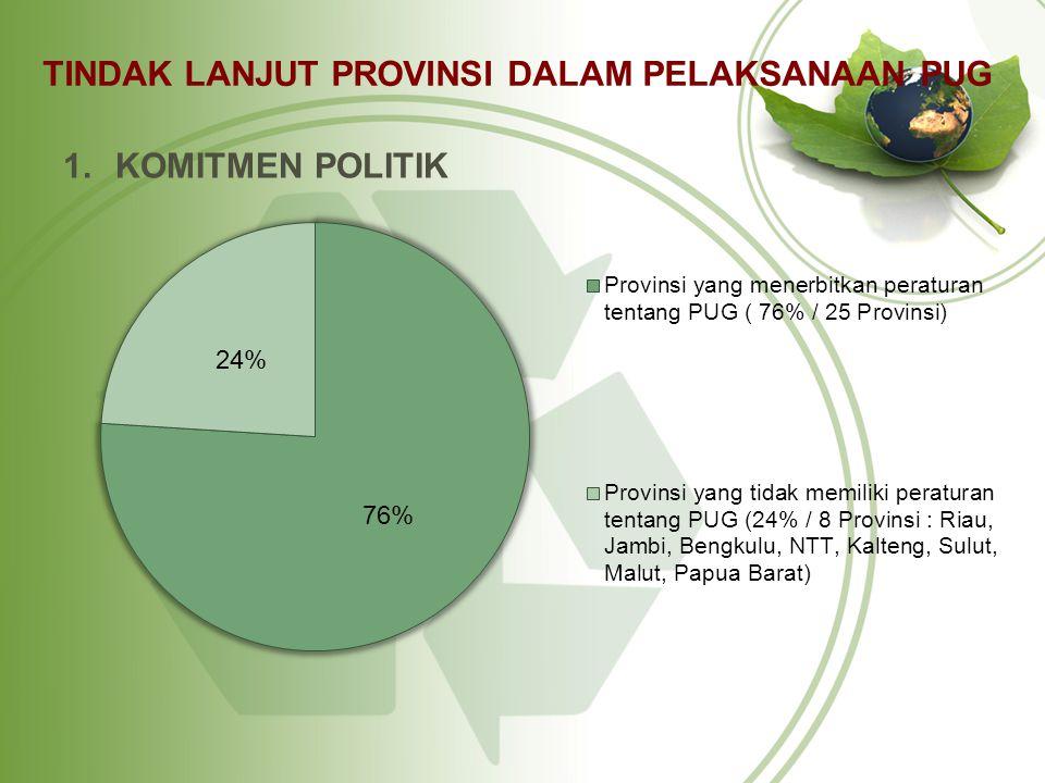 TINDAK LANJUT PROVINSI DALAM PELAKSANAAN PUG 1.KOMITMEN POLITIK
