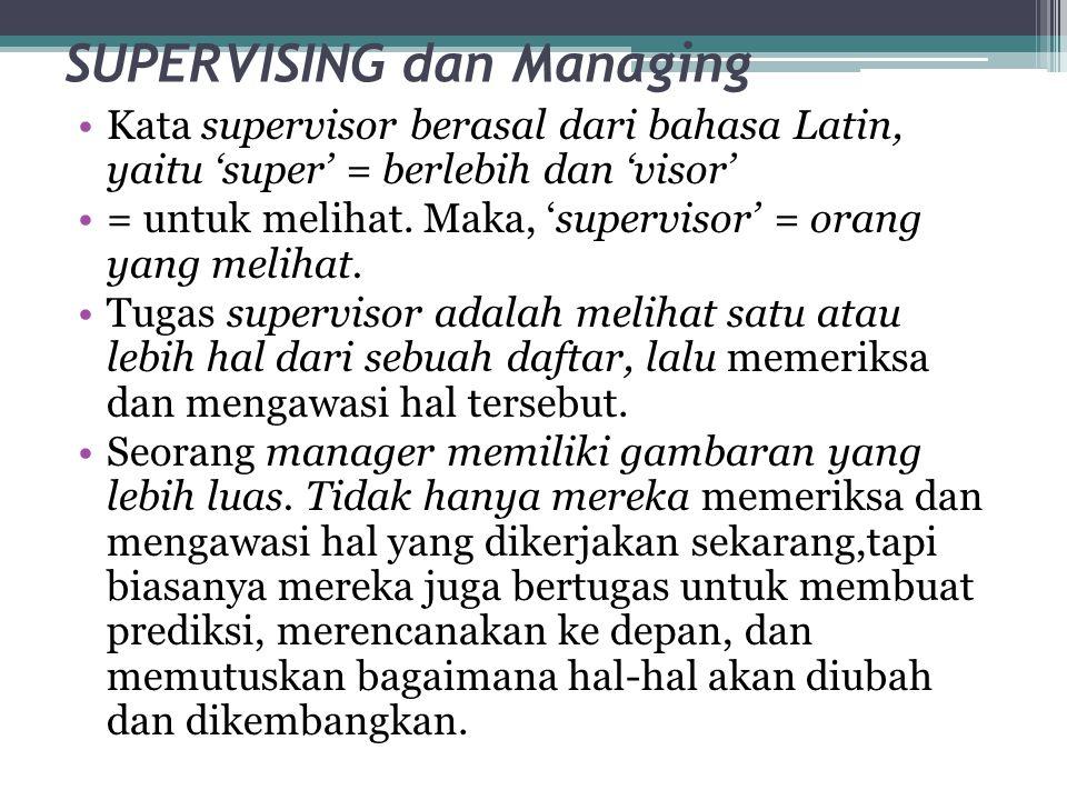 SUPERVISING dan Managing •Kata supervisor berasal dari bahasa Latin, yaitu 'super' = berlebih dan 'visor' •= untuk melihat. Maka, 'supervisor' = orang