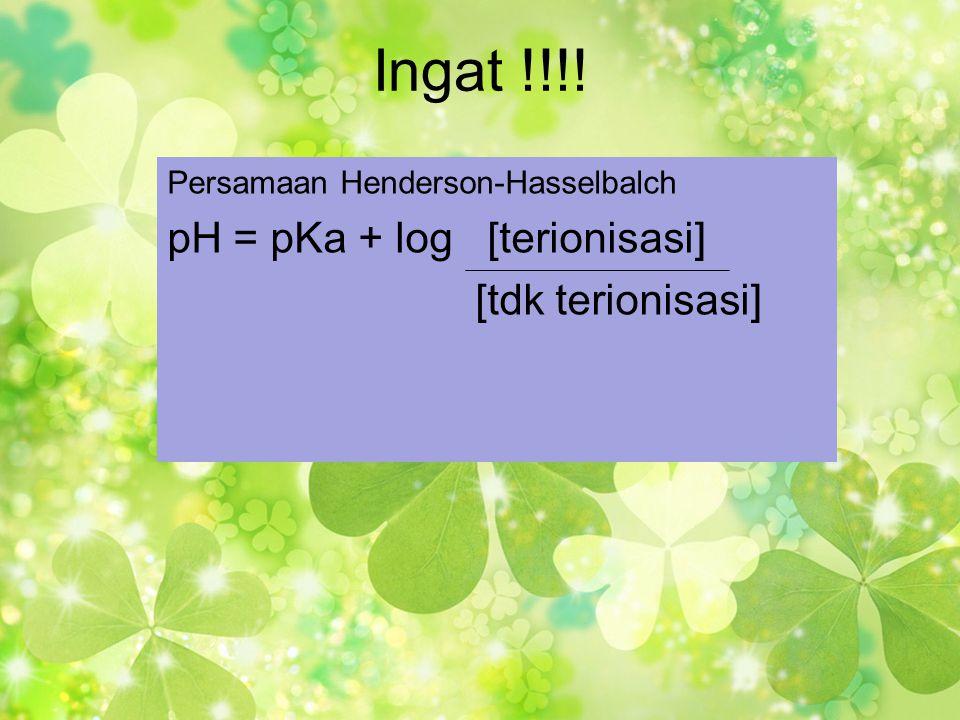 Ingat !!!! Persamaan Henderson-Hasselbalch pH = pKa + log [terionisasi] [tdk terionisasi]