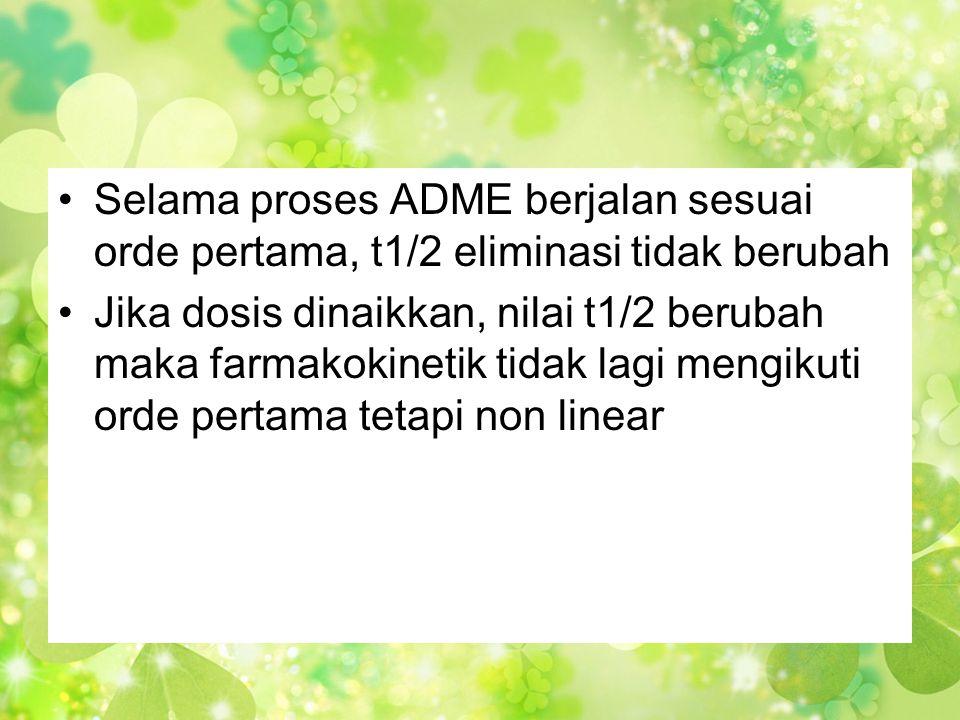 •Selama proses ADME berjalan sesuai orde pertama, t1/2 eliminasi tidak berubah •Jika dosis dinaikkan, nilai t1/2 berubah maka farmakokinetik tidak lag