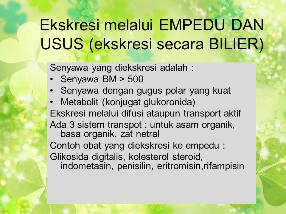 Ekskresi melalui EMPEDU DAN USUS (ekskresi secara BILIER) Senyawa yang diekskresi adalah : •Senyawa BM > 500 •Senyawa dengan gugus polar yang kuat •Me