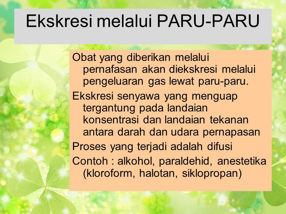 Ekskresi melalui PARU-PARU Obat yang diberikan melalui pernafasan akan diekskresi melalui pengeluaran gas lewat paru-paru. Ekskresi senyawa yang mengu