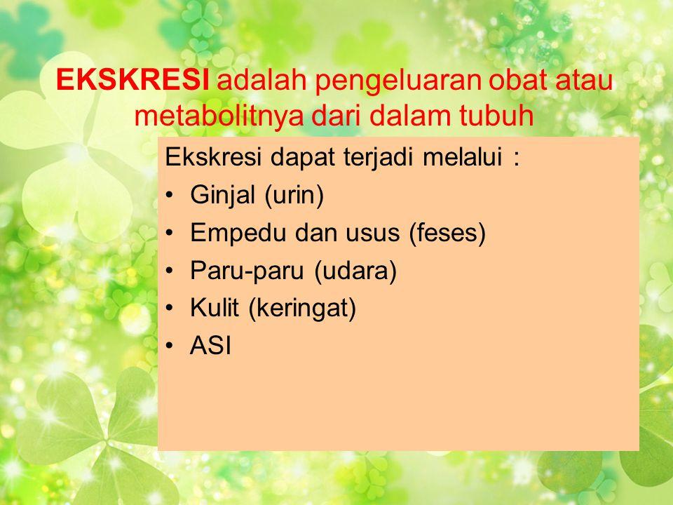 EKSKRESI adalah pengeluaran obat atau metabolitnya dari dalam tubuh Ekskresi dapat terjadi melalui : •Ginjal (urin) •Empedu dan usus (feses) •Paru-par