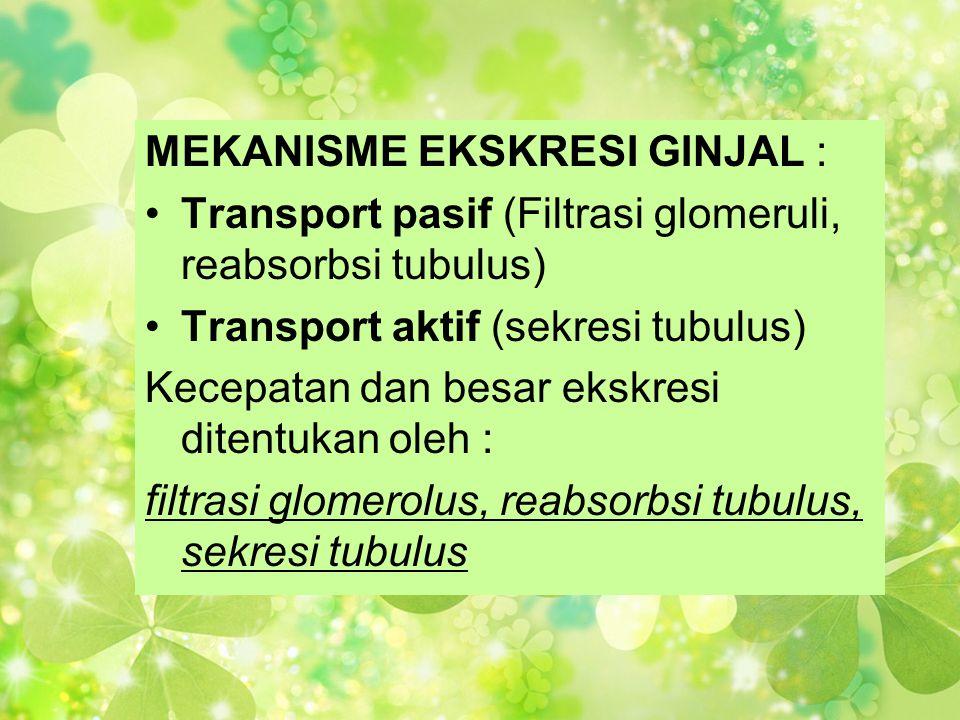 MEKANISME EKSKRESI GINJAL : •Transport pasif (Filtrasi glomeruli, reabsorbsi tubulus) •Transport aktif (sekresi tubulus) Kecepatan dan besar ekskresi