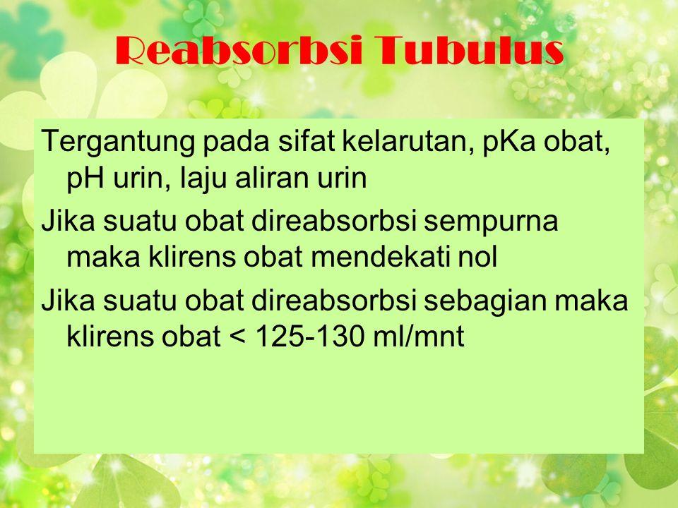 Reabsorbsi Tubulus Tergantung pada sifat kelarutan, pKa obat, pH urin, laju aliran urin Jika suatu obat direabsorbsi sempurna maka klirens obat mendek