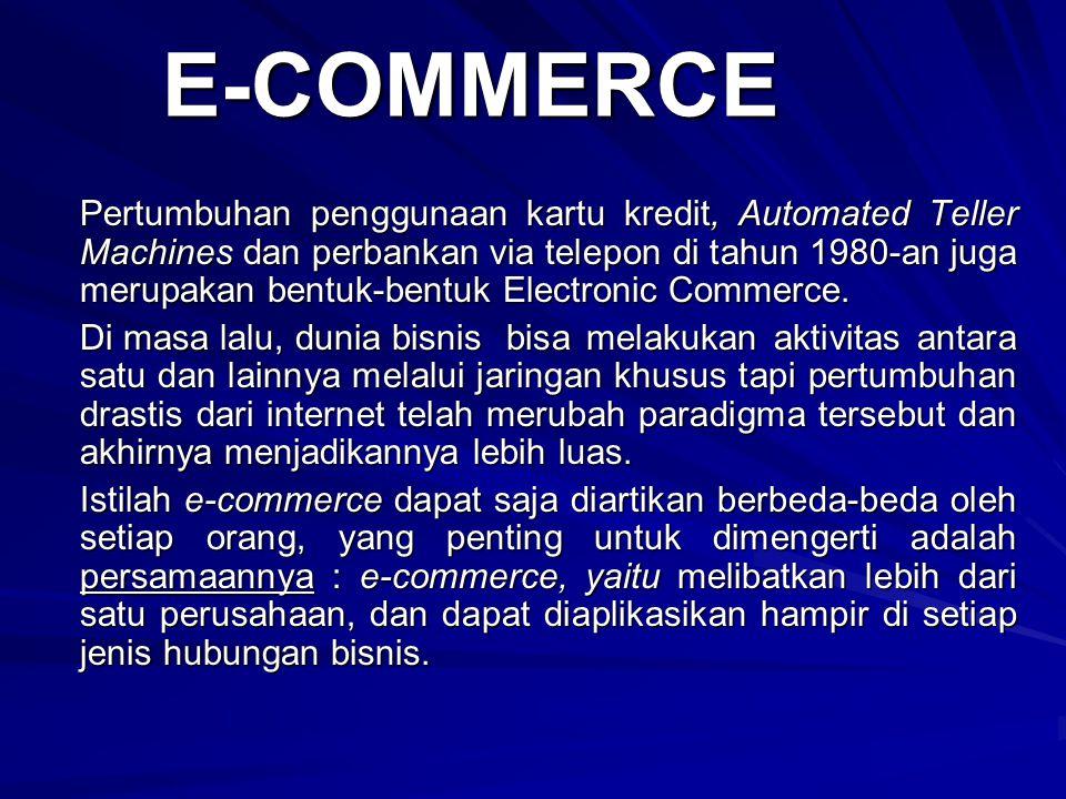 E-COMMERCE Pertumbuhan penggunaan kartu kredit, Automated Teller Machines dan perbankan via telepon di tahun 1980-an juga merupakan bentuk-bentuk Elec