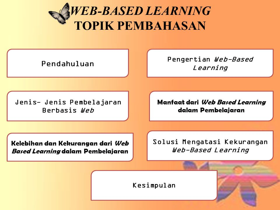 Kesimpulan • Web-based learning merupakan pembelajaran yang memerlukan alat bantu teknologi terutama teknologi informasi seperti komputer dan akses internet.