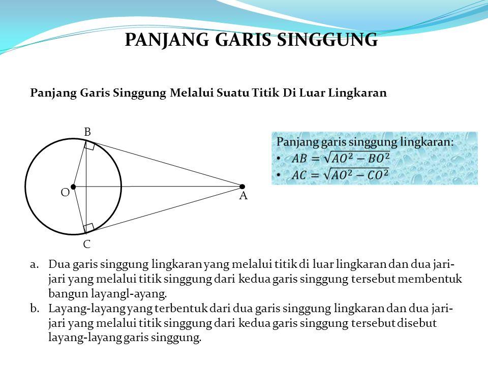 O A B C a.Dua garis singgung lingkaran yang melalui titik di luar lingkaran dan dua jari- jari yang melalui titik singgung dari kedua garis singgung tersebut membentuk bangun layangl-ayang.