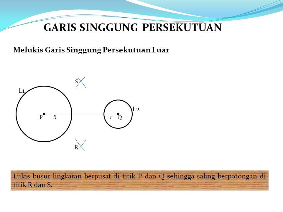 Melukis Garis Singgung Persekutuan Luar Lukis busur lingkaran berpusat di titik P dan Q sehingga saling berpotongan di titik R dan S.