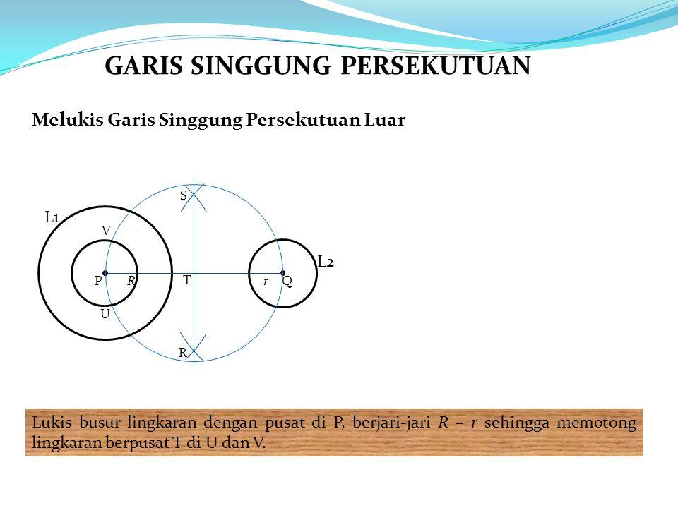 Melukis Garis Singgung Persekutuan Luar Lukis busur lingkaran dengan pusat di P, berjari-jari R – r sehingga memotong lingkaran berpusat T di U dan V.