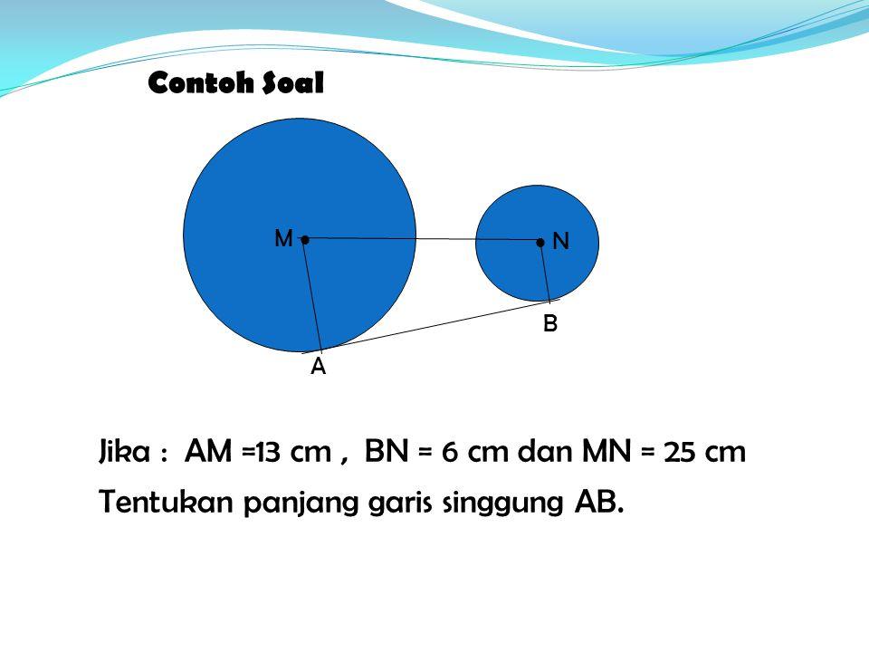 Contoh Soal M   N A B Jika : AM =13 cm, BN = 6 cm dan MN = 25 cm Tentukan panjang garis singgung AB.