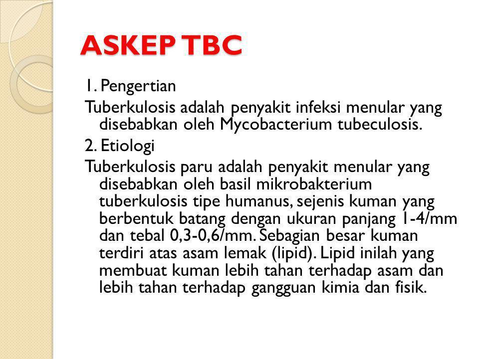 ASKEP TBC 1. Pengertian Tuberkulosis adalah penyakit infeksi menular yang disebabkan oleh Mycobacterium tubeculosis. 2. Etiologi Tuberkulosis paru ada